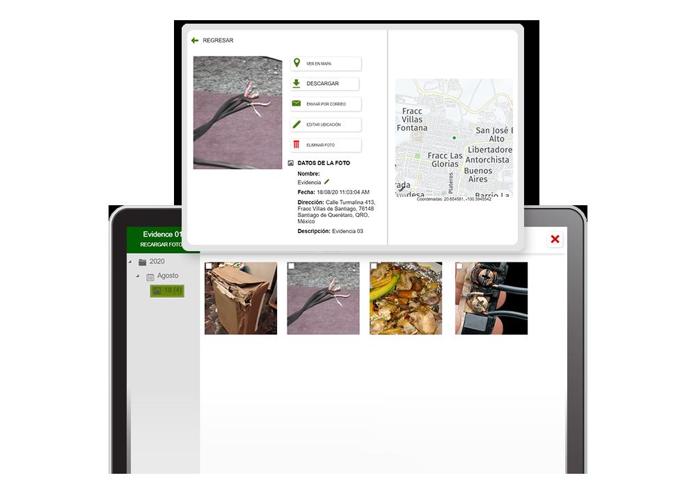 Evidencia fotográfica de Evidence directo en la plataforma de monitoreo Ubiqo